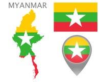 Myanmar-Flagge, Karte und Kartenzeiger lizenzfreie abbildung