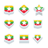 Myanmar flags icons and button set nine styles Royalty Free Stock Photos