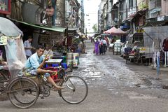 myanmar gatasäljare yangon Royaltyfria Foton
