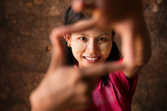Myanmar girl playing fun. Royalty Free Stock Image