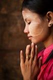 Myanmar girl is praying Royalty Free Stock Images