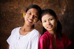 Myanmar girls smiling Stock Photo