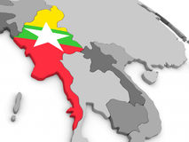 Myanmar on globe with flag Royalty Free Stock Image