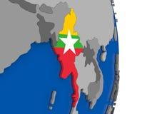 Myanmar on globe with flag Stock Photography