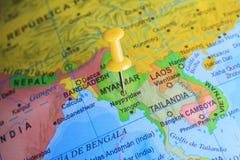 Myanmar a goupillé sur une carte de l'Asie Photo libre de droits
