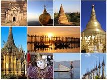 Myanmar - gränsmärkecollage royaltyfri fotografi