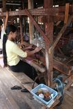 Myanmar hand-loom woman Stock Images