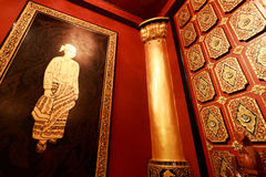 Myanmar house corner with carving golden wall. stock photos
