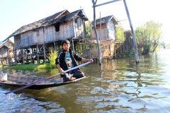 Myanmar Inle湖视图 免版税图库摄影
