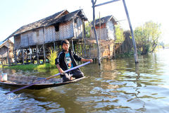 Myanmar Inle jeziora widok Fotografia Royalty Free