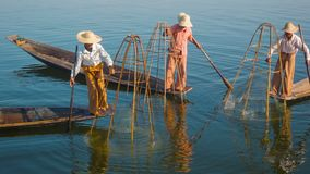 Myanmar, Inle Lake. Fishermen on boats demonstrate ancient way of fishing stock footage
