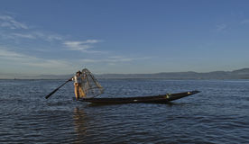 Myanmar Inle lake 05 November 2014. Fishermen. Fishermen at dawn of Inle lake, Myanmar (Burma Stock Images