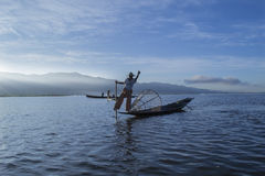 Myanmar Inle lake 05 November 2014. Fishermen. Fishermen at dawn of Inle lake, Myanmar (Burma Royalty Free Stock Images