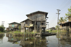 Myanmar Inle Lake - Stelt Houses Stock Photos