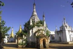 Myanmar Inle Lake stupas royalty free stock images