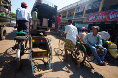 Myanmar Jan 30. .Trishaw operators in Mya Stock Photography