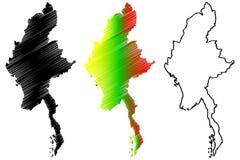 Myanmar-Kartenvektor Stockbild