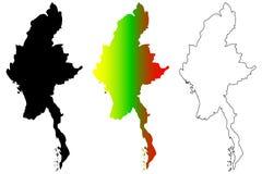 Myanmar-Kartenvektor Lizenzfreie Stockfotos