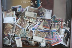 Myanmar Kyats bank notes background Royalty Free Stock Images
