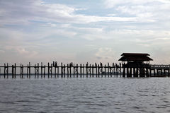 Myanmar lake landscape, U-Bein bridge in Amarapura Royalty Free Stock Photos