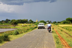 Myanmar landscape with a small road Royalty Free Stock Photography