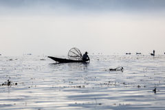 Myanmar, man fishing on Inle lake Royalty Free Stock Image