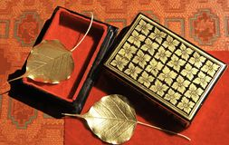 Myanmar, Mandalay: Handicraft, golden leaves Royalty Free Stock Images