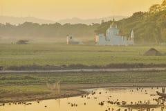 Myanmar Mandalay U-bein sunset stock image