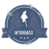 Myanmar mark. Travel rubber stamp with the name and map of Myanmar, vector illustration. Can be used as insignia, logotype, label, sticker or badge of the Stock Image