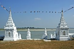 Myanmar, Mingun: white pagoda Stock Photography