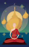 Myanmar monk meditation in front of Kyaikhtiyo pagoda Royalty Free Stock Photo
