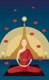 Myanmar monk meditation in front of Shwedagon pagoda Stock Photography