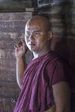 Myanmar monk`s portait. Portrait of a Monk in Old Bagan in Myanmar Stock Photo