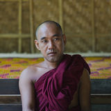 Myanmar monk's portait. Portrait of a Monk in Old Bagan in Myanmar (Burma)nnhttp://photography.nationalgeographic.com/photography/photo-of-the-day/monk-road Royalty Free Stock Image