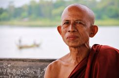 Myanmar monk's portrait in Amarapura Stock Image