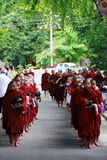 Myanmar monks and novices in line Royalty Free Stock Photos