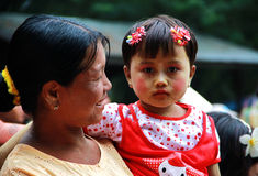 Myanmar mother and daughter portrait Stock Photos