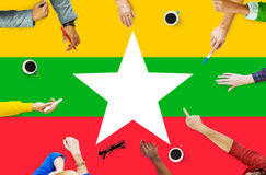 Myanmar National Flag Government Freedom LIberty Concept Royalty Free Stock Image