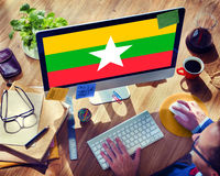 Myanmar National Flag Government Freedom LIberty Concept Stock Photos