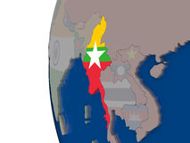 Myanmar with national flag Royalty Free Stock Photography