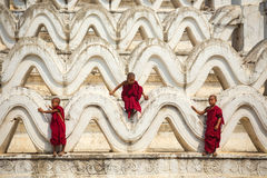 Myanmar novice three were climbing the pagoda Royalty Free Stock Photography