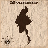 Myanmar old map with grunge and crumpled paper. Vector illustration Royalty Free Stock Photography