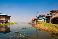 myanmar Paysage Lac Inle village Photo stock