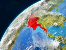 Myanmar on Earth with borders. Myanmar on realistic model of planet Earth with country borders and very detailed planet surface and clouds. 3D illustration royalty free stock photography