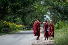 Myanmar roadside young monk. Buddhism in Myanmar is predominantly of the Theravada tradition, practised by 89% of the country`s population It is the most royalty free stock photo