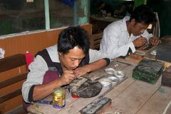 Myanmar silversmith Stock Images