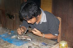 Myanmar silversmith Royalty Free Stock Photography