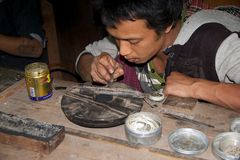 Myanmar silversmith Royalty Free Stock Images