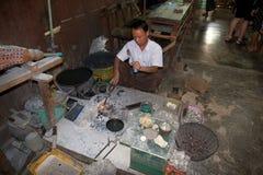 Myanmar silversmith Stock Image