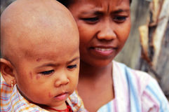 Myanmar son and mother, Monwya Stock Photography